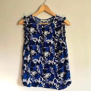 Boden Blue and White Sleeveless Floral Blouse